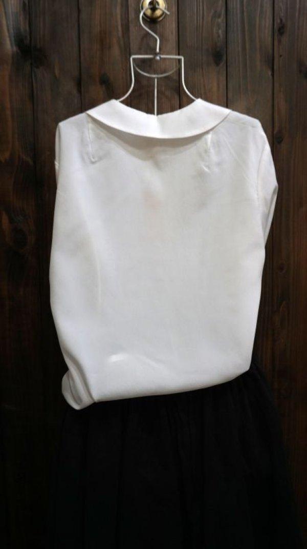 画像2: 白 長袖 ブラウス 丸襟[15969]