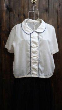 白 半袖  ブラウス 丸襟[11670]