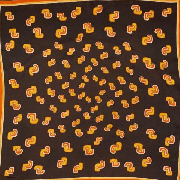 画像1: レトロ幾何学柄 スカーフ 67cm×67cm[0337]