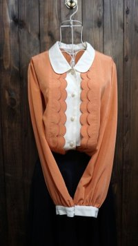 オレンジ系 長袖 ブラウス 丸襟[15993]