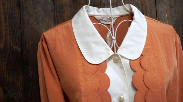 画像3: オレンジ系 長袖 ブラウス 丸襟[15993]
