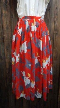 花柄 赤 スカート/w58cm [41966]
