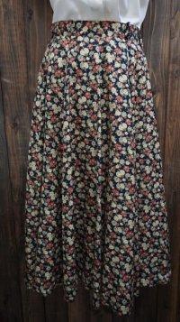 花柄 ネイビースカート/w64cm [41975]