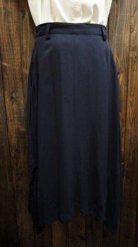 無地 ネイビー レーヨン スカート 変形デザイン / w66cm[45264]