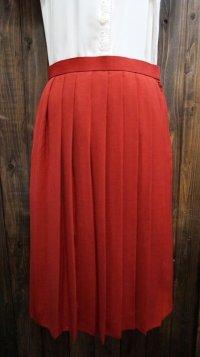無地 オレンジ スカート プリーツ / w66cm[41980]
