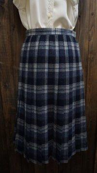 チェック柄 ブルー系 ウール スカート プリーツ / w60cm[45269]