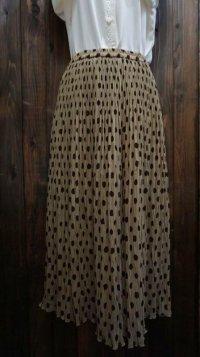 ドット柄 ブラウンスカート/ w60cm~(ゴム)[45275]