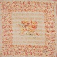 シルク スカーフ 花柄模様 ピンク  80cm×80cm[0375]