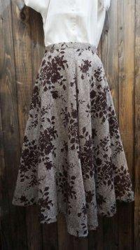 花柄 ブラウン スカート /w62cm[42002]