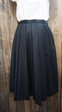 無地 ブラック ウール スカート /w66cm[41995]