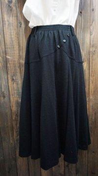 無地 ブラック スカート /w62cm~(ゴム)[41997]