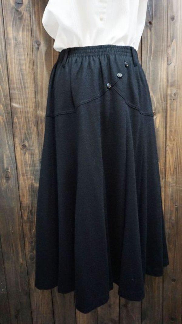 画像1: 無地 ブラック スカート /w62cm~(ゴム)[41997]