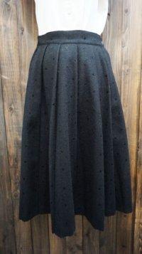無地 ブラック ウール スカート /w64cm[41993]