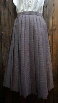レトロ幾何学柄 パープル系 ウール スカート プリーツ/w61cm[42011]