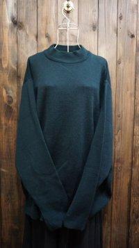 深緑 ウール ハイネック ニットセーター[25427]