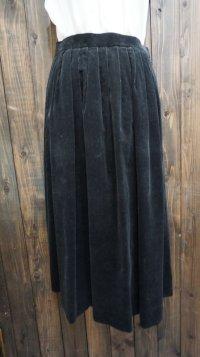 無地 黒 スカート プリーツ/w63cm[42018]