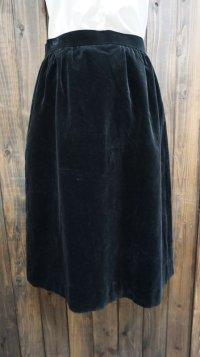 無地 黒 スカート フレア/w64cm[42027]