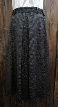 ドット 黒 スカート フレア/w65cm[42043]