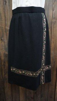 無地 黒 スカート フレア/w72cm[42026]