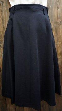 無地 黒 スカート フレア/w64cm[42029]