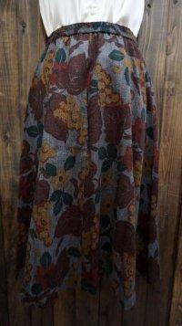 葡萄柄 グレー スカート フレア/w62cm[42041]