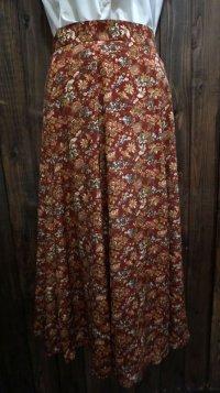 花柄 赤 スカート フレア/w64cm[42045]