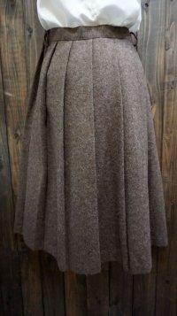 無地 ブラウン系 スカート プリーツ/w70cm[42030]