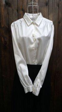 無地 白 長袖 ブラウス レギュラーカラー[16086]