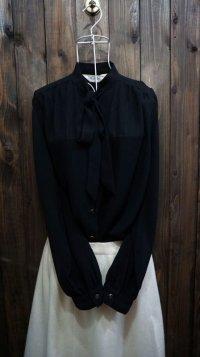 無地 黒 ブラック 長袖 ブラウス ボウタイ[16096]