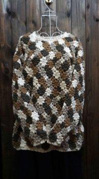 ブラウン×ホワイト ニット セーター クルーネック[25467]