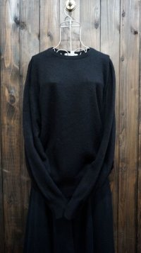 黒 ニット セーター クルーネック[25473]