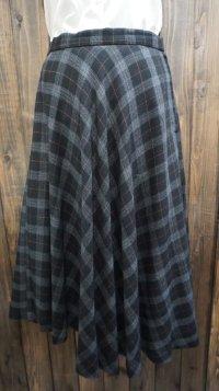 チェック柄 ブラック 黒 ウール フレアスカート /w66cm[42009]
