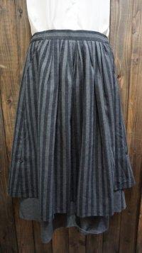 ストライプ柄 グレー系 フレアスカート ティアードスカート /w64cm[42011]