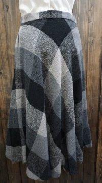 チェック柄 ブラック グレー フレアスカート /w63cm[42000]