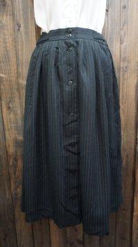 ストライプ柄 黒 ブラック フレアスカート /w63~69cm(ゴム)[42004]