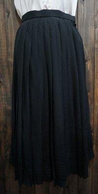 幾何学柄 黒 ブラック プリーツスカート /w62cm[42019]