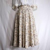 花柄 クリーム色 スカート フレア 水彩タッチ/w59cm[42072]