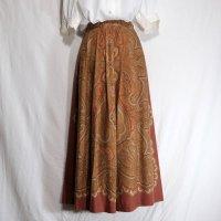 New Yorker ペイズリー柄 オレンジ スカート フレア/w60cm[42083]