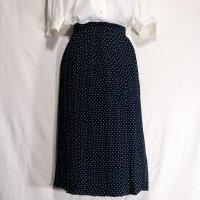 ドット 紺 スカート プリーツ/w66cm[42065]