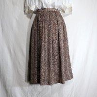 花柄 オレンジ×緑×白 スカート プリーツ/w60cm[42077]
