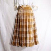 チェック柄 オレンジ系 混綿 スカート プリーツ/w69cm[42091]