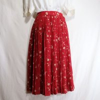 花柄 赤 スカート プリーツ/w63cm[42104]