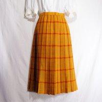 チェック柄 オレンジ スカート プリーツ/w69cm[42097]