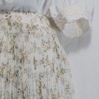 花柄 白×グリーン系 スカート プリーツ/w63-69cm[42109]