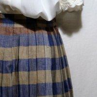 ボーダー柄 ブルー系×ブラウン系 麻 スカート プリーツ/w62cm[42114]