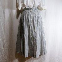 ストライプ柄 モノトーン 混麻混綿 スカート フレア/w60cm[42152]