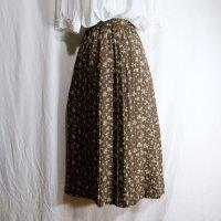 花柄 ブラウン スカート プリーツ /w62cm[42168]