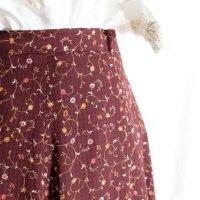 花柄 エンジ系 スカート フレア/w66cm[42202]