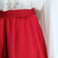 赤 ウール スカート フレア /w63cm[42211]