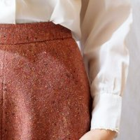 ピンク系 ツイード スカート フレア/w61cm[42224]